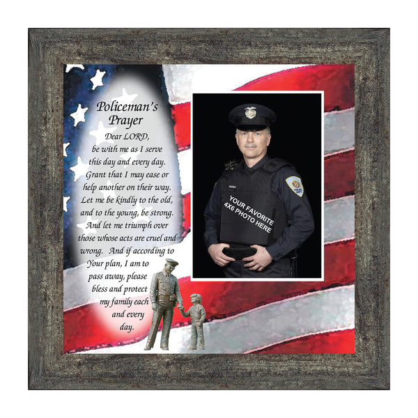 Policeman's Prayer, Picture Framed Poem Thanking the Police for their Service, 10X10 6794