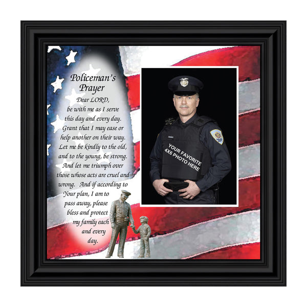Policeman's Prayer, Personalized Picture Frame Gifts for Men Police Officer, 10X10 6794