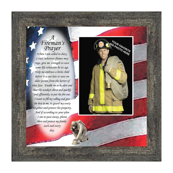 A Fireman's Prayer, In Appreciation of A Firefighter, Framed Picture Frame, 10X10 6795