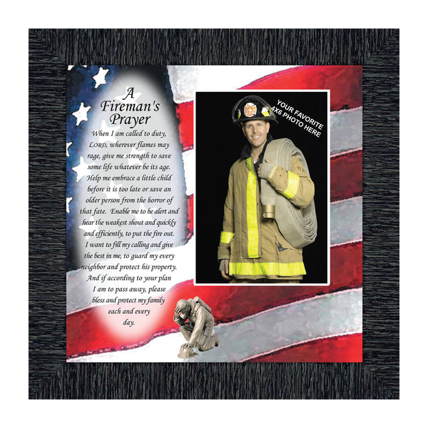 Firefighter Gifts for Men and Women, Fire Academy Graduation Gift, Fire Fighter Gifts or Firehouse Decor, A Fireman's Prayer Framed Wall Art for Home or Fire Station, 6795