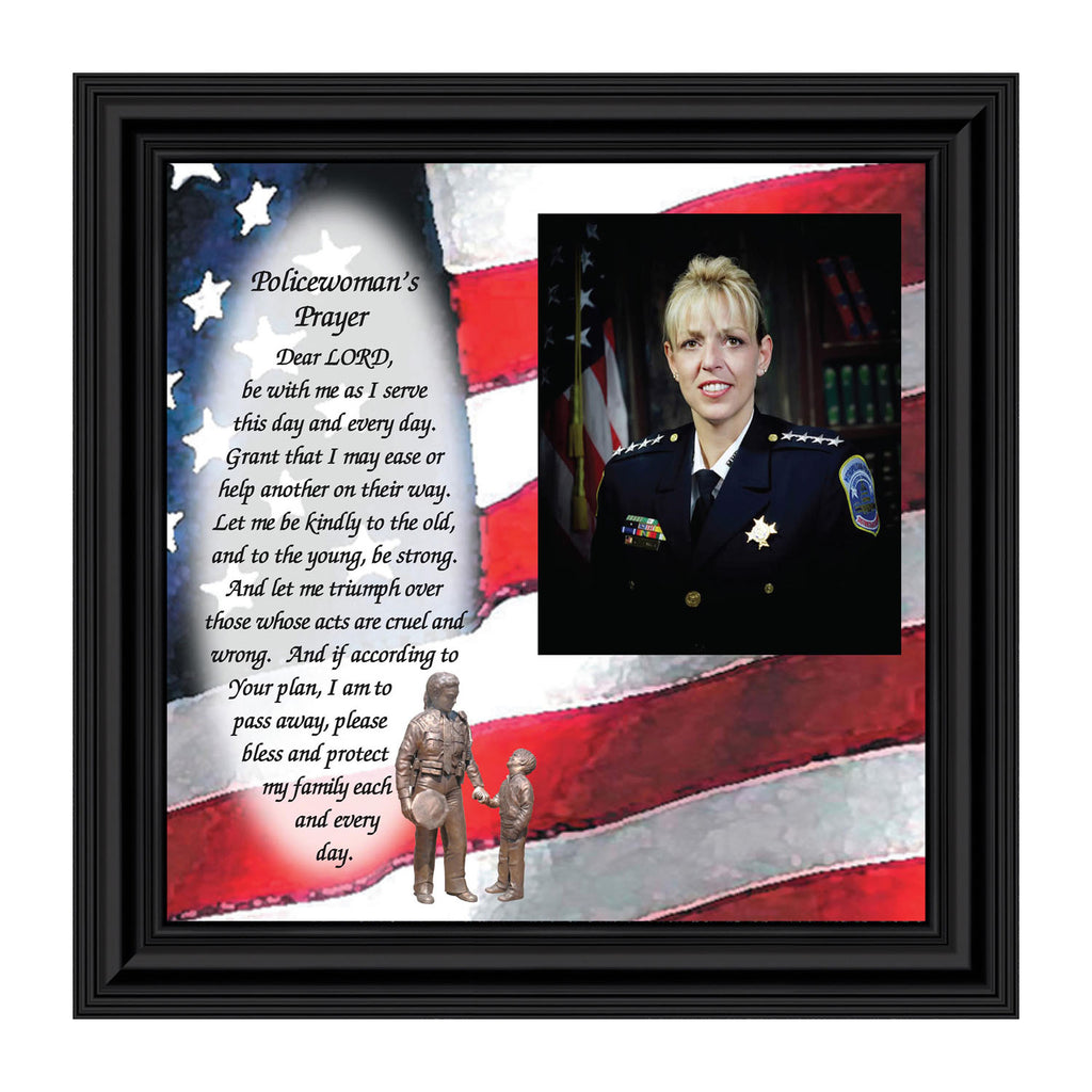 Police Woman's Prayer, Personalized Gifts for Women Police Women, 10X10 6796