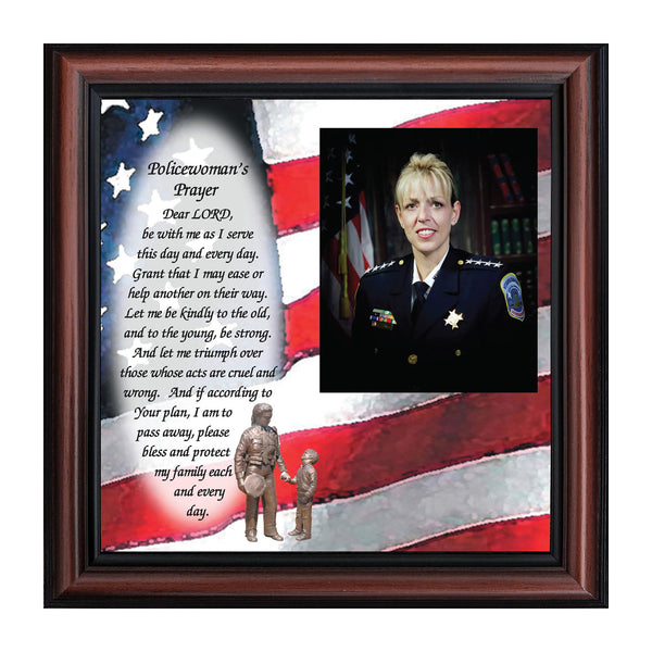 Policewoman's Prayer, Police Officer Gifts for Women, Police Woman Framed Poem, 10X10 6796