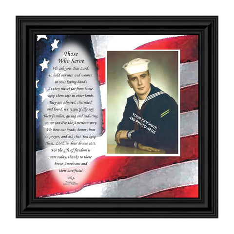 Servicemen Prayer, Military Gifts, Personalized Military Picture Frame, 10x10 6798