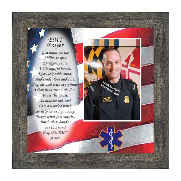 EMT Prayer, Picture Frame for EMT Who Serves the Community, Picture Framed Poem, 10X10 6799