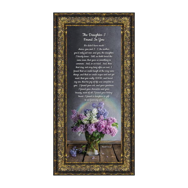 Daughter In Law Gifts from Mother In Law, Gift for Future Daughter In Law, Bonus Daughter Gifts from Mother of the Groom, Daughter In Law Birthday Card, The Daughter I Found In You Framed Home Decor, 7303