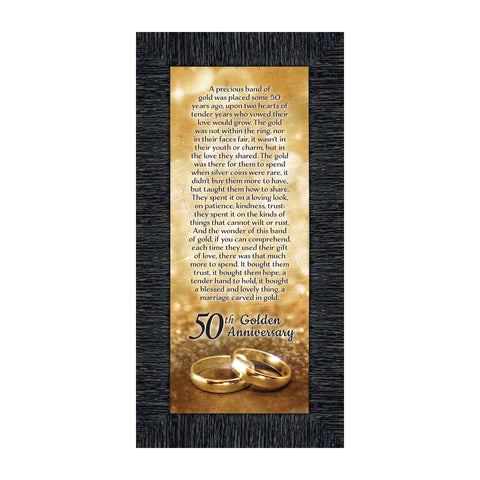 Bands of Gold, Personalized 50th Golden Wedding Anniversary Gift Picture Frame, 6x12 7318