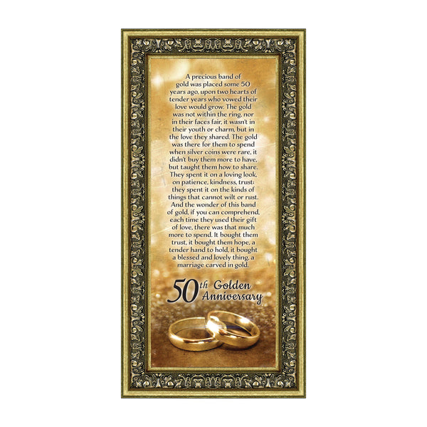 Bands of Gold, 50th Wedding Picture Frame, 6x12 7318