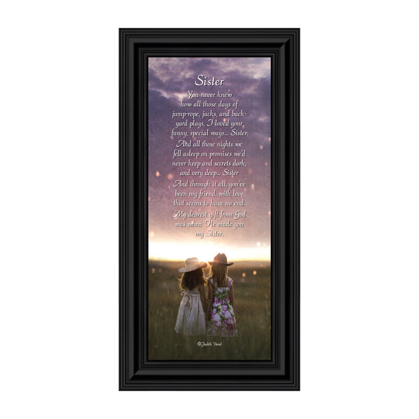 Sister, For My Sister, Special Gift for Sister from Sibling, Framed Poem, 6x12 7336