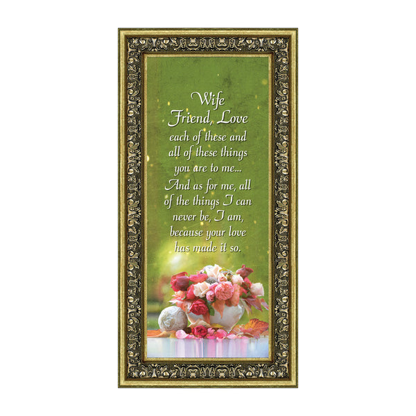 Wife, Friend, Love; Romantic Gifts for Wife from Husband, Romantic Picture Frame, 6x12 7338