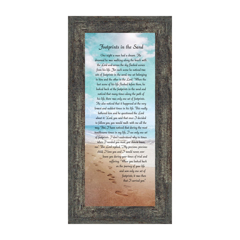 Footprints in the Sand, Footprints In the Sand Wall Art, Footprints Poem, 6x12 7349