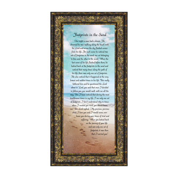 Footprints in the Sand Beach Wall Art, Footprints Poem for Comfort and Encouragement, 6x12 7349
