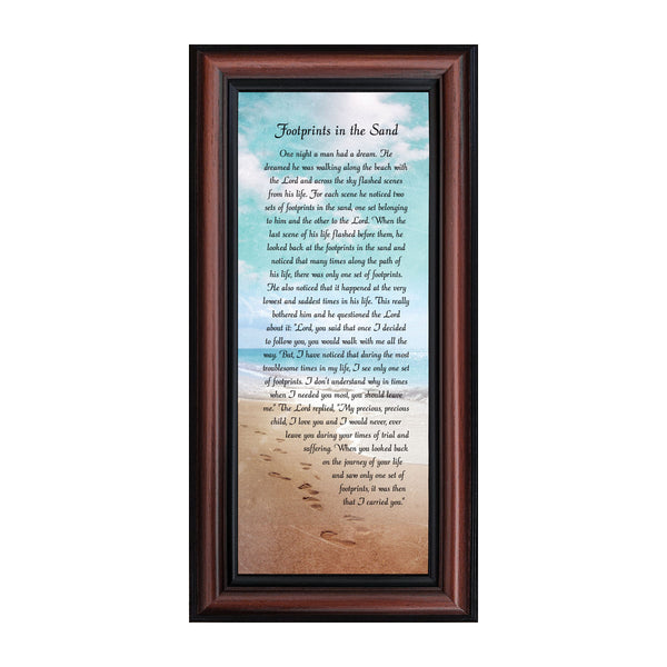 Footprints in the Sand Inspirational Wall Art, Beach Decor, Christian Gifts for Women and Men, Christian Wall Decor, Get Well Soon, Encouraging Scripture Wall Art, Framed Sympathy Gift, 7349