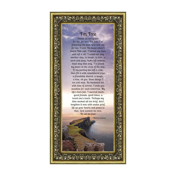 "Memorial Picture Frames for Sympathy Gift Baskets, Memorial Gifts for Loss of Mother, Bereavement Gifts, Condolence Card, Sympathy Gifts for Loss of Father, ""I'm Free"" Photo Frame, 7357"