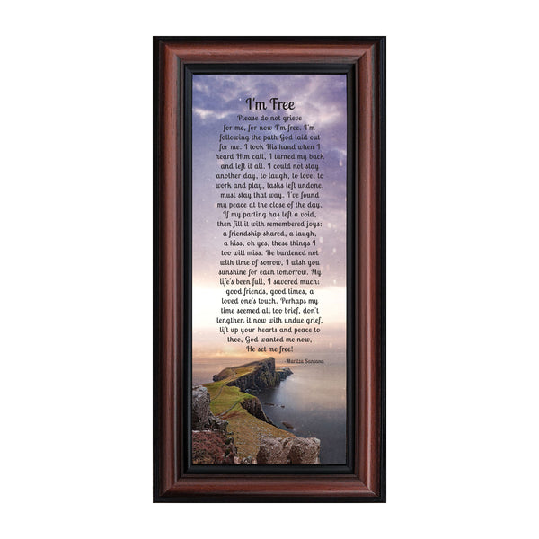 I'm Free, Love One's in Heaven, Sympathy Gift or Condolence Memory Photo Frame, 6x12 7357