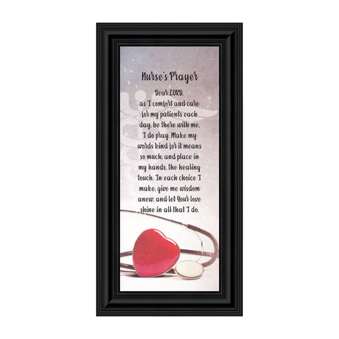 Nurses Prayer, Gift Appreciation for Special Nurses, Nurse Graduation, Framed Poem, 6x12 7358