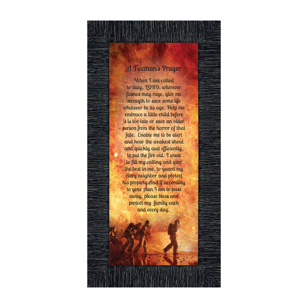 Firefighter Gifts for Men and Women, Fire Academy Graduation Gift, Fire Fighter Gifts or Firehouse Decor, A Fireman's Prayer Framed Wall Art for Home or Fire Station, 7361