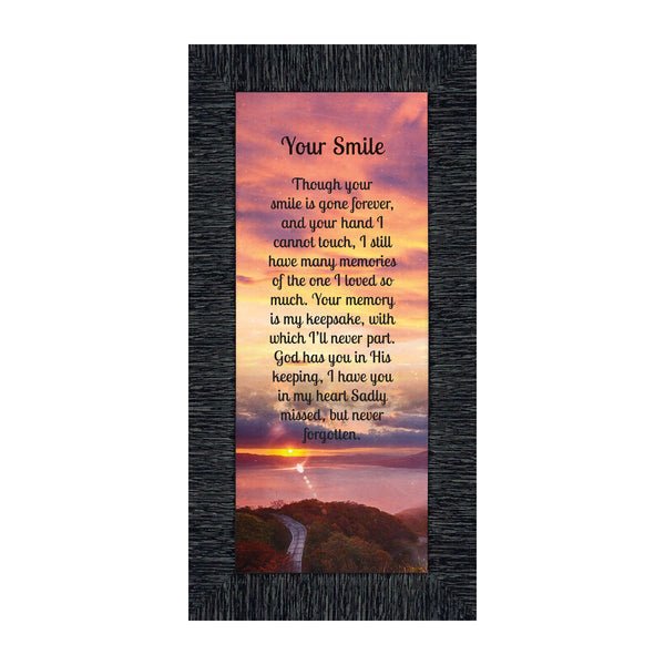 "Sympathy Gift Picture Frames In Memory of Loved One, Memorial Gifts to Add to Your Sympathy Gift Baskets or Condolence Card, Loss of Father Gift, Bereavement Gifts, ""Your Smile"" Framed Poem, 7363"