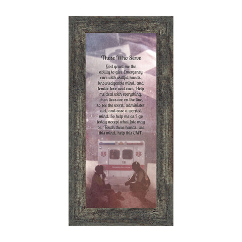 EMT Prayer, Picture Frame for Paramedic, 6x12 7364
