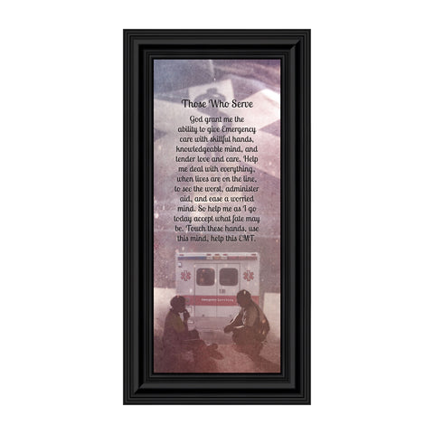 EMT Prayer, Picture Frame for EMT Who Serves the Community, Picture Framed Poem, 6x12 7364