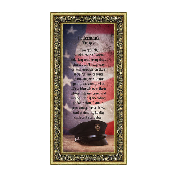 Policeman's Prayer, Picture Framed Poem Thanking the Police for their Service, 6x12 7365