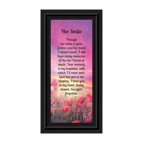 Sympathy Gifts for Loss of Mother, Condolence Gift, In Loving Memory Memorial Gifts for Loss of Wife, Mom, Grandma or Sister, Bereavement Gifts to Remember Her Smile, Memorial Picture Frame, 7366
