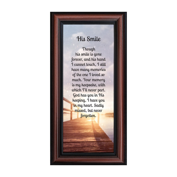 Sympathy Gifts for Loss of Husband, Memorial Gift, His Smile In Memory of Loved One, Picture Frames for Sympathy Gift Baskets, Bereavement Gifts for Loss of Father, Loss of Son Condolence Gift, 7373