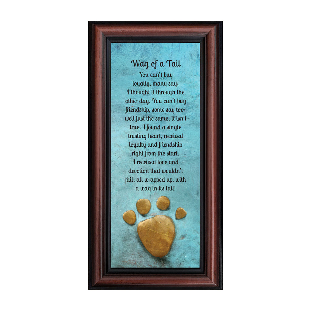 Wag of a Tail, Appreciation of Your Dog Framed Poem, New Puppy Owner, 6x12 7377