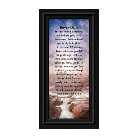Broken Chain, in Memory of a Loved One, Sympathy or Condolence Framed Gift, 6x12 7382