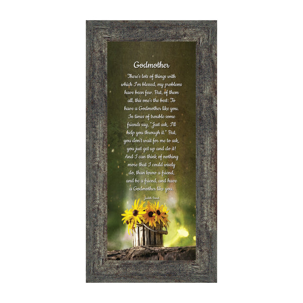 Godmother, Baptism Gift, Religious Picture Frame, 6x12 7389