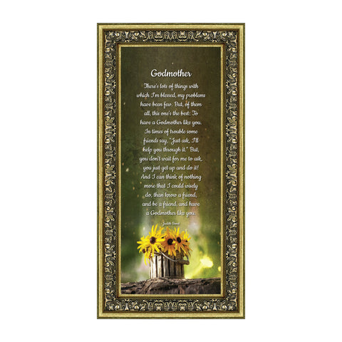 Crossroads Home Décor Godmother, Baptism Gift, Religious Picture Frame, 6x12 7389