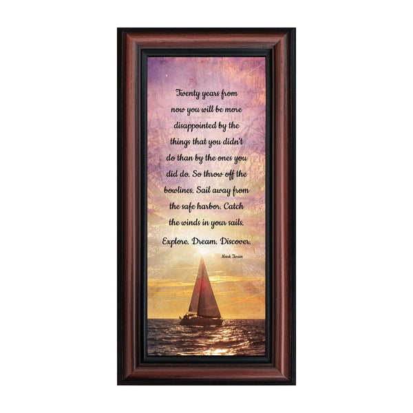 Discovery, Motivational Wall Art, Framed Mark Twain Quotes, 6x12 7392