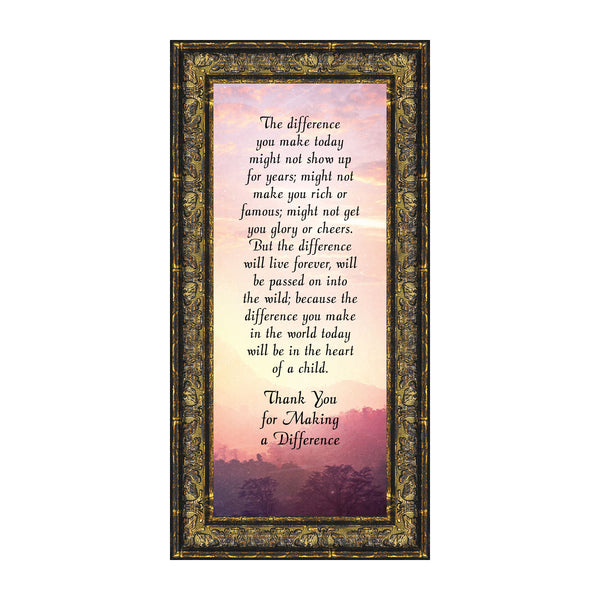 The Difference I Make Today, Teacher Appreciation Gift, Picture Frame for Parents, 6x12 7393