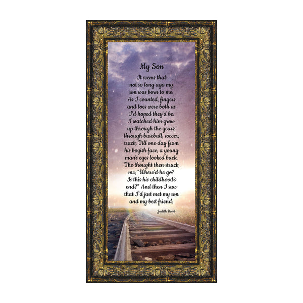 My Son, Father Son Gift, Gift from Mom to Son, Inspirational Picture Frame, 6x12 7394