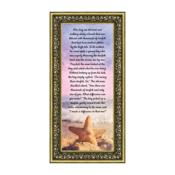 The Starfish Story, Legend of the Starfish, Thank You or Appreciation Gift for Your Pastor or Teacher, You Can Make a Difference Poem, 6x12 7395