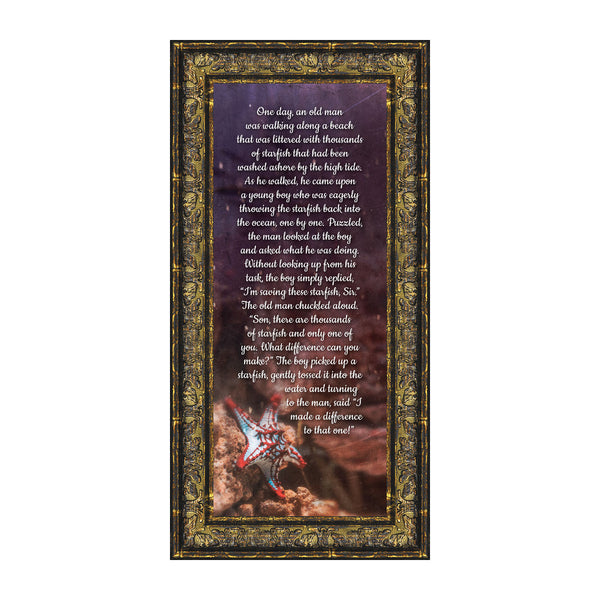 The Starfish Story, Legend of the Starfish, Thank You or Appreciation Gift for Your Pastor or Teacher, You Can Make a Difference Poem, 6x12 7398G
