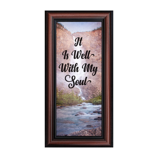 It is Well with My Soul, Hymn Art, Encouragement Gift, Religious Picture Frame, 6x12 7402