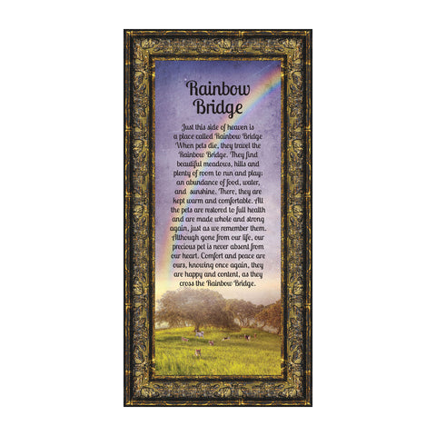 Rainbow Bridge, Loss of a Beloved Pet, Sympathy or Memorial Frame, 6x12 7414