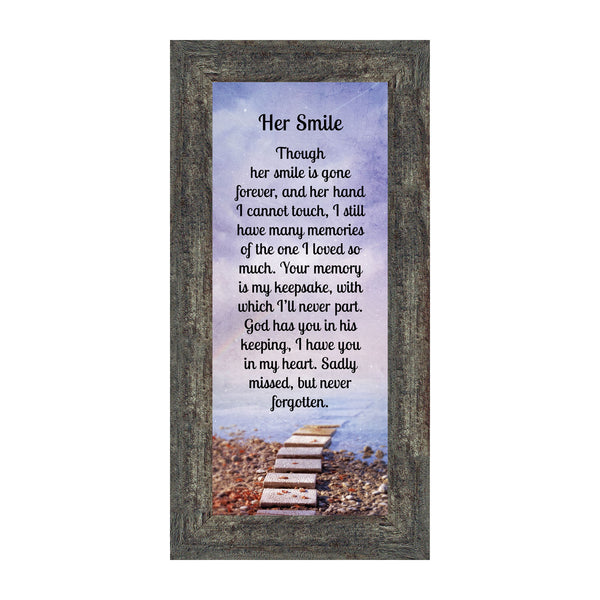 Sympathy Gifts for Loss of Mother, Condolence Gift, In Loving Memory Memorial Gifts for Loss of Wife, Mom, Grandma or Sister, Bereavement Gifts to Remember Her Smile, Memorial Picture Frame, 7431