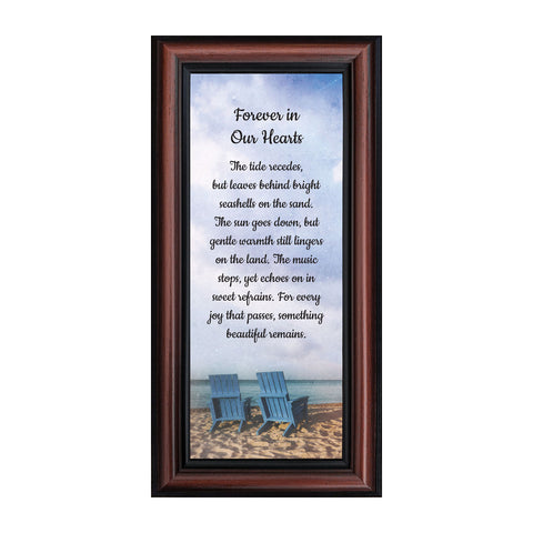 Memorial Gifts Picture Frames, Sympathy Gifts for Loss of Mother, Bereavement Gifts to Add to Your Sympathy Gift Baskets, In Memory of Loved One, Forever in Our Hearts Framed Poem, 7453