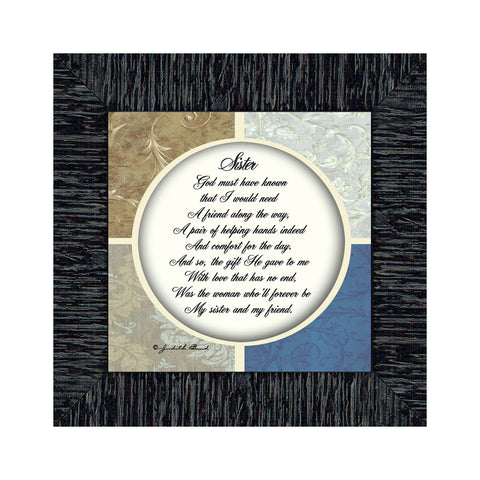 Sister, Sister Picture Frame With Quotes, Sisters and Friends, 6x6 75509