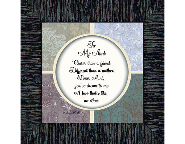 To My Aunt, Aunt Gifts, Aunt Picture Frame, 6x6 75569