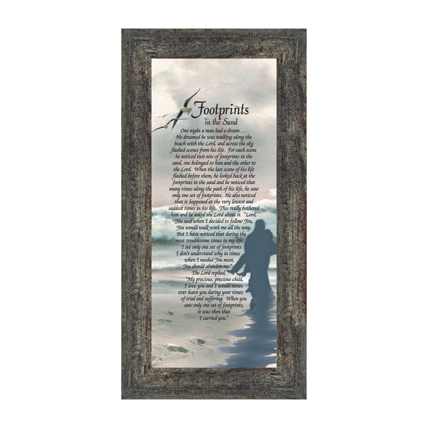 Footprints in the Sand Inspirational Wall Art, Beach Decor, Christian Gifts for Women and Men, Christian Wall Decor, Get Well Soon, Encouraging Scripture Wall Art, Framed Sympathy Gift, 7703