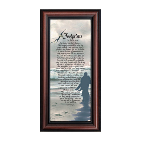 Footprints in the Sand Wall Art, Religious Wall Decor Gifts, Christian Decorations for Home, Inspirational Signs, 6x12, 7703