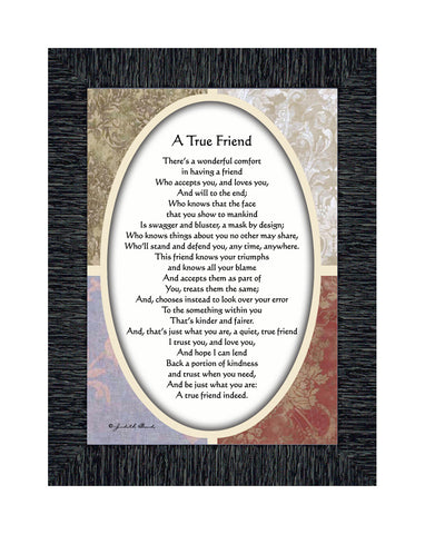 A True Friend, Poem about True Friendship, 7x9 77933