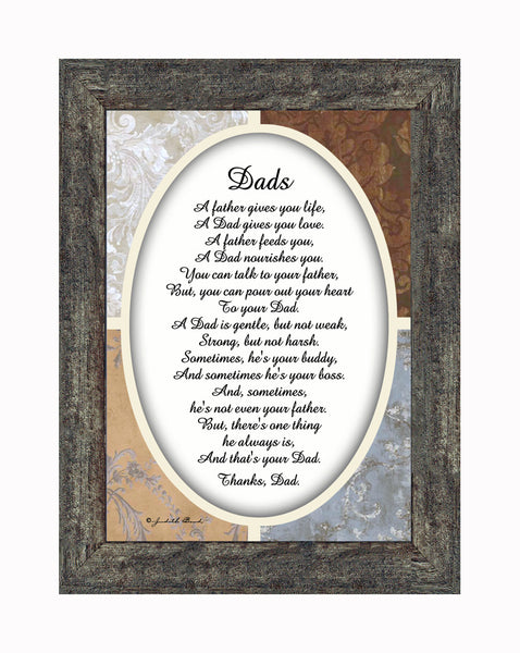 A Framed Poem Thanking Dad, Gift for Daddy From Son or Daughter, 7x9 77940