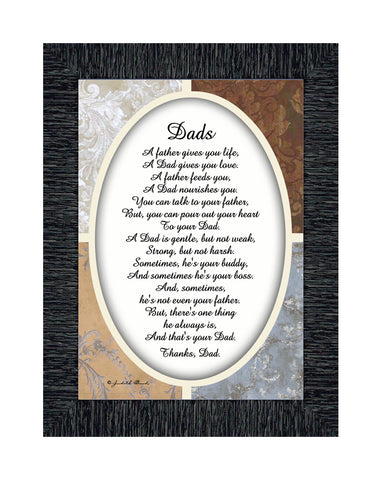 A Framed Poem Thanking Dad, Gift for Daddy From Son or Daughter, 5x7, 77940