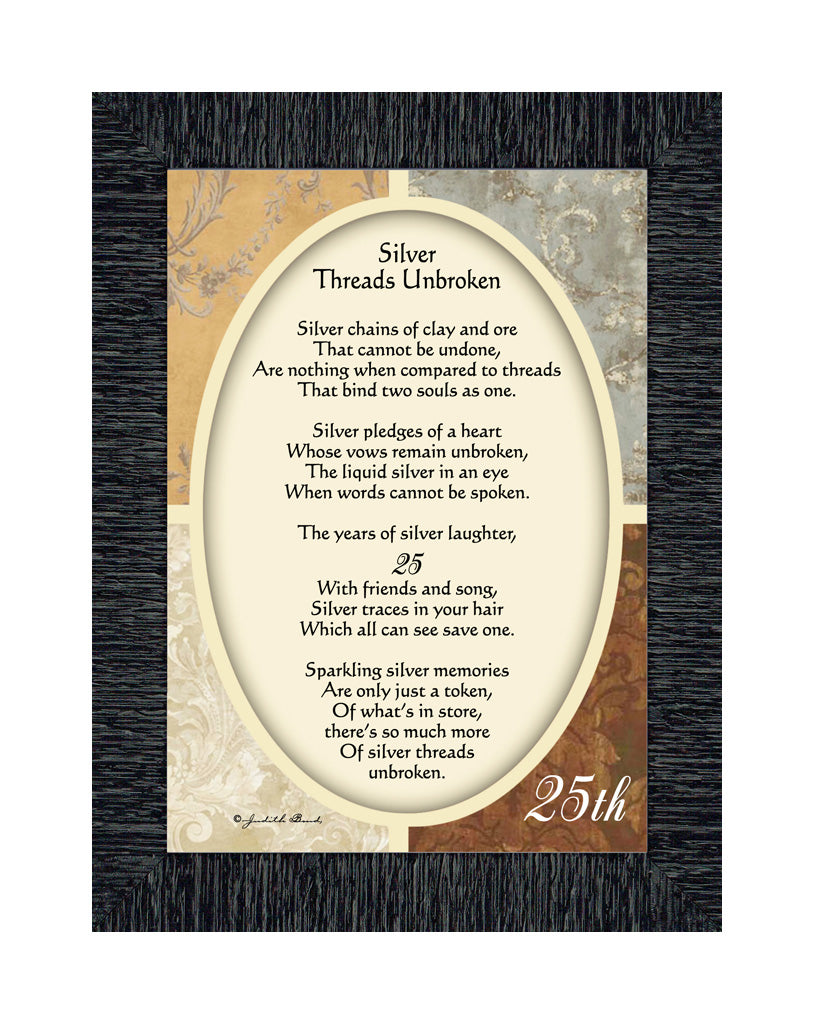 Silver Threads Unbroken, Poem celebrating a couples 25th anniversary, 7x9 77978