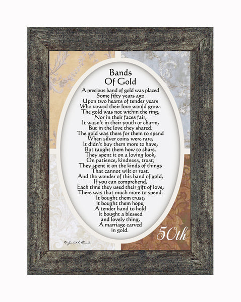 Bands of Gold,  50th Golden Wedding Anniversary Gift Picture Frame, 7x9 77979