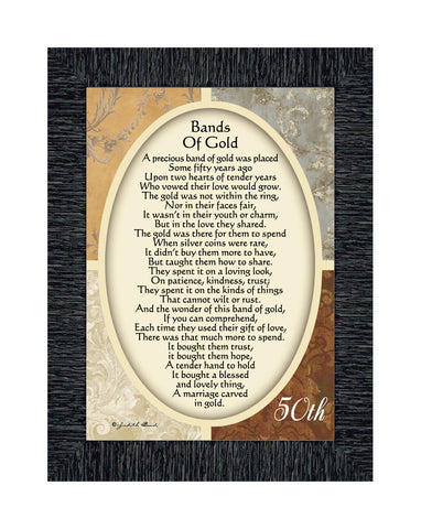 Bands of Gold, Poem celebrating a couples 50th anniversary, 7x9 77979