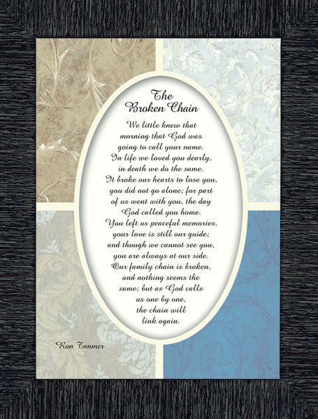 Broken Chain, in Memory of a Loved One, Sympathy or Condolence Framed Gift, 7x9 77991